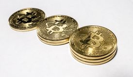 Stacked pile of bitcoins royalty free stock photo