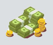 Stacked pile of cash with coin. Flat isometric vector Royalty Free Stock Photography