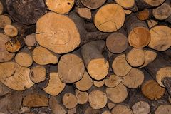 Stacked pile chopped logs pine logging stocking winter stove background. Stacked pile of chopped logs pine logging stocking winter stove natural background Stock Photography