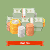 Stacked pile of coins and banknots. Flat style illustration or icon. EPS 10 vector Stock Image
