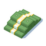 Stacked pile of dollar strapped bundles cash money. Stacked pile of ten thousand us dollar strapped bundles cash money. Banking or business prosperity concept Stock Photos