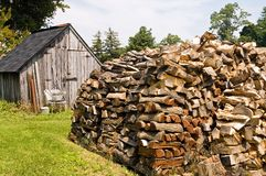 Stacked Pile of Firewood stock image