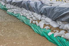 Stacked pile of sandbags for flood defense Stock Image