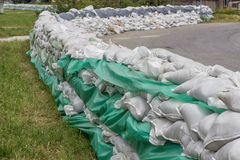 Stacked pile of sandbags for flood defense 2 Royalty Free Stock Image