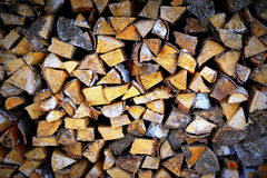 Stacked pile of wood. During early spring royalty free stock photo