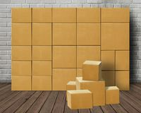 Stacked piled carton boxes declutter. Stacked or piled carton boxes declutter Royalty Free Stock Photos