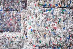 Stacked piles of plastic bottles for recycling. Waste management and ecology of envirorment stock photo