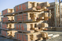 Stacked Of Planks At Construction Site Royalty Free Stock Image