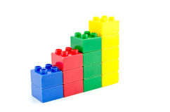 Stacked plastic building blocks concept for growth profit margin Stock Photos