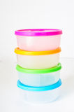 Stacked plastic containers Stock Image