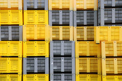 Stacked plastic crates Stock Photos
