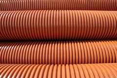 Stacked plastic pipes Stock Photo