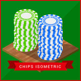 Stacked pocker Chips isometric flat royalty free illustration
