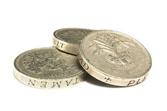 Stacked Pound Coins. A macro shot of three stacked pound coins royalty free stock image