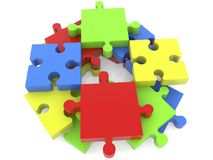Stacked puzzle pieces in various colors Royalty Free Stock Photos