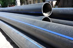 Stacked PVC pipe Royalty Free Stock Photos