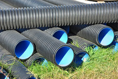 Stacked PVC pipe Stock Photo