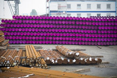 Stacked pvc pipes Royalty Free Stock Image