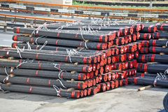 Stacked PVC and steel pipe Royalty Free Stock Photography