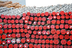Stacked PVC and steel pipe Royalty Free Stock Image