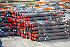 Stacked PVC and steel pipe Stock Photo