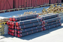 Stacked PVC and steel pipe Stock Image