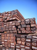 Stacked railway sleepers. Wodden railway sleepers stacked, ready for use Royalty Free Stock Photography