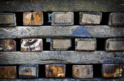 Stacked railway sleepers. Background or texture stacked railway sleepers Royalty Free Stock Photography