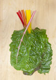 Stacked rainbow chard leaves. Stock Photo