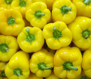 Stacked raw yellow bell peppers Royalty Free Stock Photography