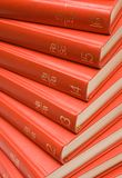 Stacked Red Books. Stacked Encyclopedia Royalty Free Stock Photography
