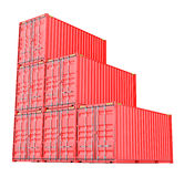 Stacked red cargo containers over white Royalty Free Stock Photography