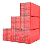 Stacked red cargo containers over white Royalty Free Stock Photo