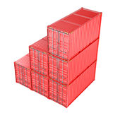 Stacked red cargo containers over white Royalty Free Stock Photos