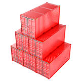 Stacked red cargo containers over white Stock Photo