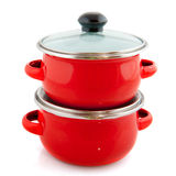 Stacked red pans Royalty Free Stock Image