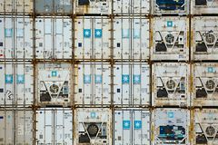 Stacked Refigerated Containers Royalty Free Stock Image