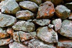 Stacked Rock Fence Background Stock Photo