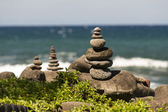 Stacked Rocks on the beach in Hawaii Stock Photos
