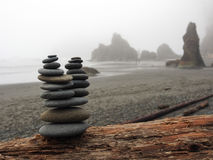 Stacked Rocks on a Foggy Ruby Beach Royalty Free Stock Image