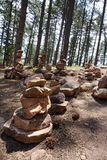 Stacked rocks in forest Stock Photo