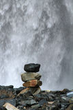 Stacked Rocks in Front of Waterfall Royalty Free Stock Photos