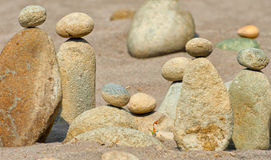 Stacked Rocks At Oxbow Park. At Oxbow Park, along the Sandy River, has a beach where rocks are staked by anyone who visits the area creating a village of stacked Royalty Free Stock Image