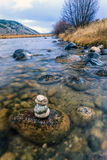 Stacked rocks in the river. Royalty Free Stock Photos