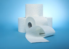 Stacked rolls of toilet paper Stock Photo