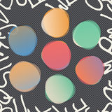 Stacked round colorful watercolor vector shapes. Abstract banners. Squared black background with white alphabet letters.  Stock Photo