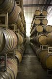 Stacked Rows of French Oak Wine Barrels stock photo