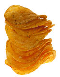 Stacked salty adn spicy popato crisps chips Stock Images