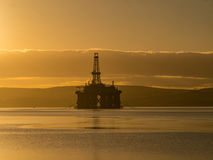 Stacked Semi Submersible Oil Rig at Cromarty Firth in Invergordo Royalty Free Stock Photography