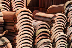Stacked Shingles On A Construction Area Royalty Free Stock Photos
